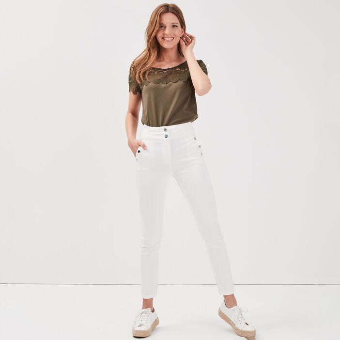 Pantalon ajusté à pont ecru femme