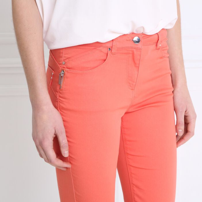Pantalon 7/8 satin orange corail femme