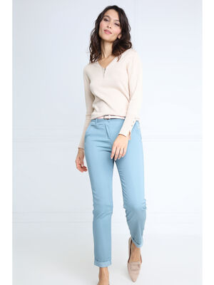 Pantalon chino ceinture standard vert fonce femme