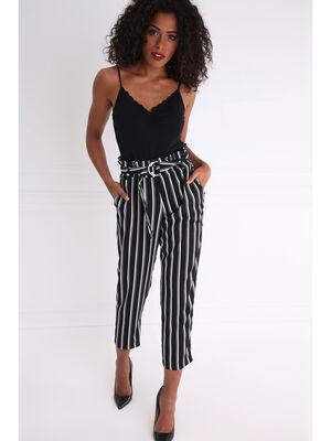 Pantalon raye fluide taille haute noir femme