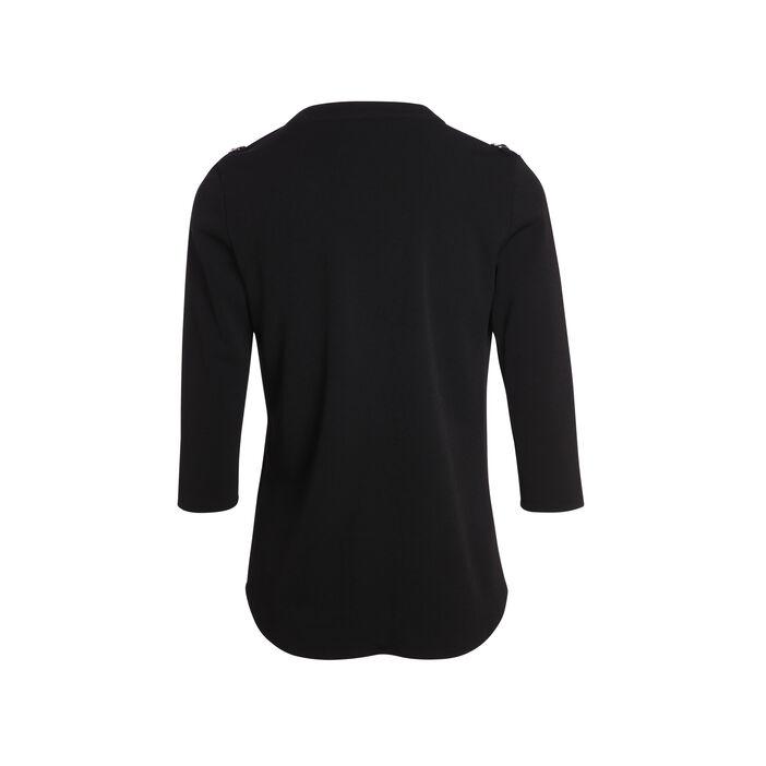 T-shirt esprit army à manches 3/4 noir femme