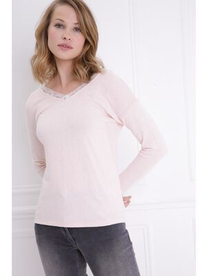 Pull col V manches longues rose poudree femme