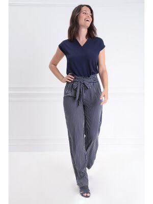 Pantalon fluide taille haute bleu marine femme