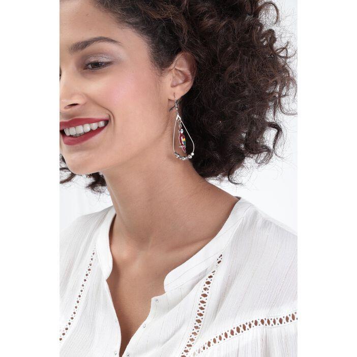 Boucles d'oreilles pampilles couleur argent femme