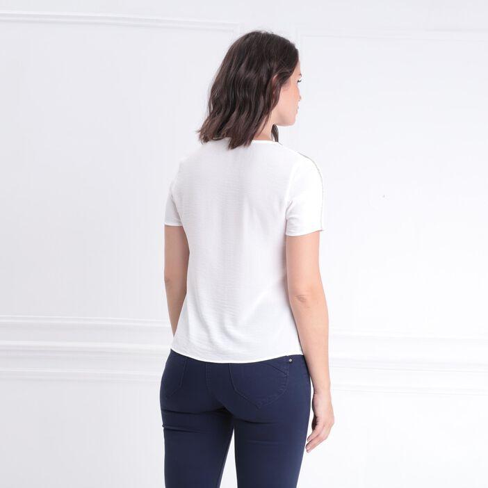 Blouse manches courtes nouée ecru femme