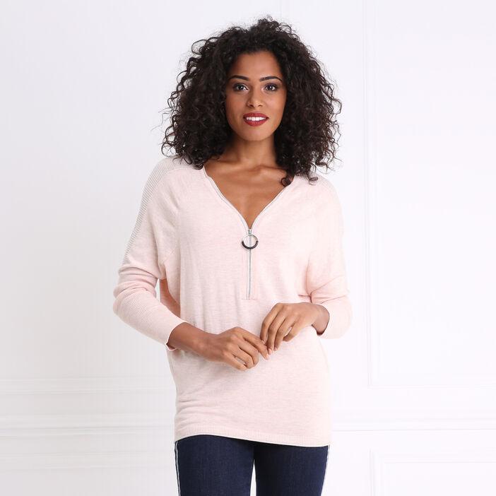 Pull col zippé et détails lurex épaules rose femme