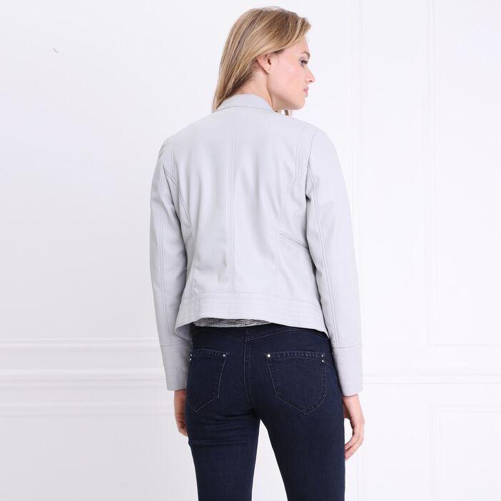 Veste courte unie zippée gris foncé femme