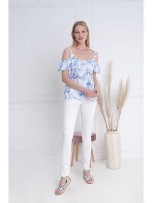 T shirt a bretelles volante bleu femme