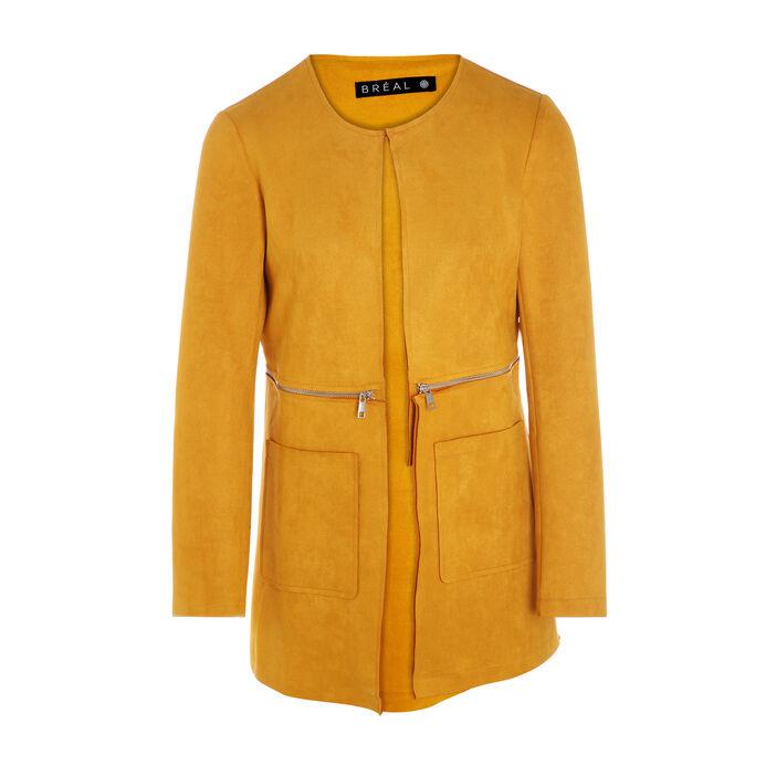Veste mi-longue détail zip jaune or femme