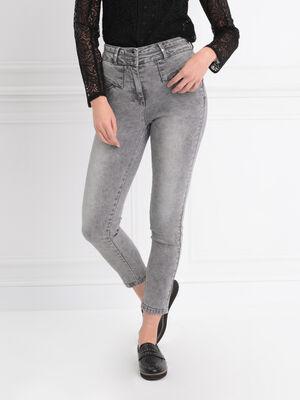 Jeans ajuste taille haute gris femme
