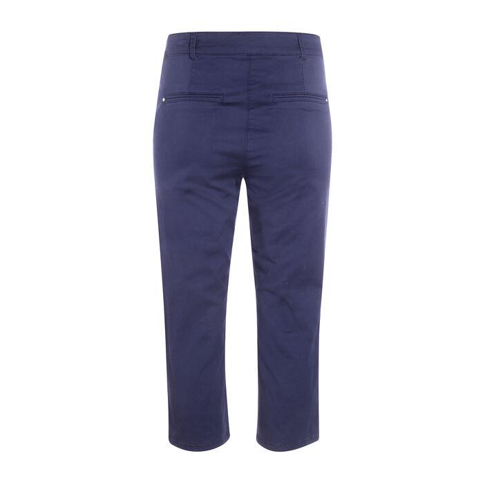 Pantacourt uni en coton stretch bleu femme