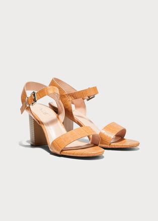 Sandales a talons texturees orange fonce femme