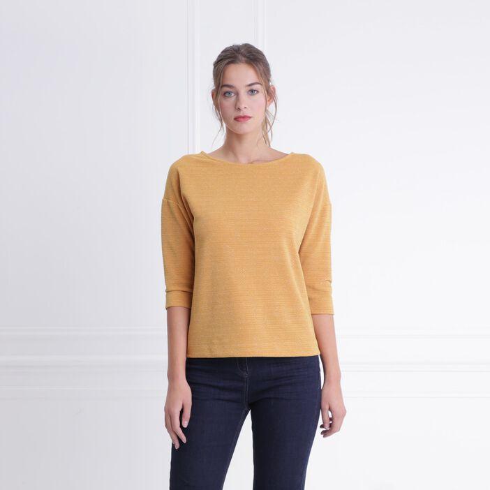 T-shirt col rond maille métallisée jaune moutarde femme