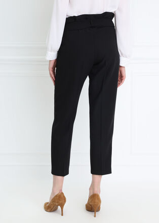 Pantalon taille haute fluide noir femme