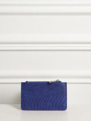 Porte cartes effet reptile bleu femme