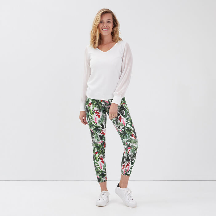 Pantalon ajusté taille haute ecru femme