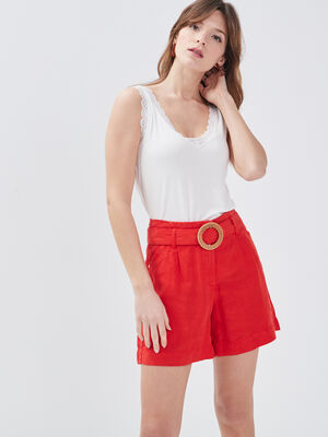 Short evase taille haute rouge femme