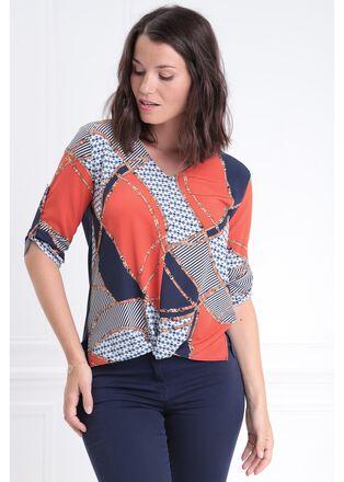T shirt manches 34 effet noue multicolore femme