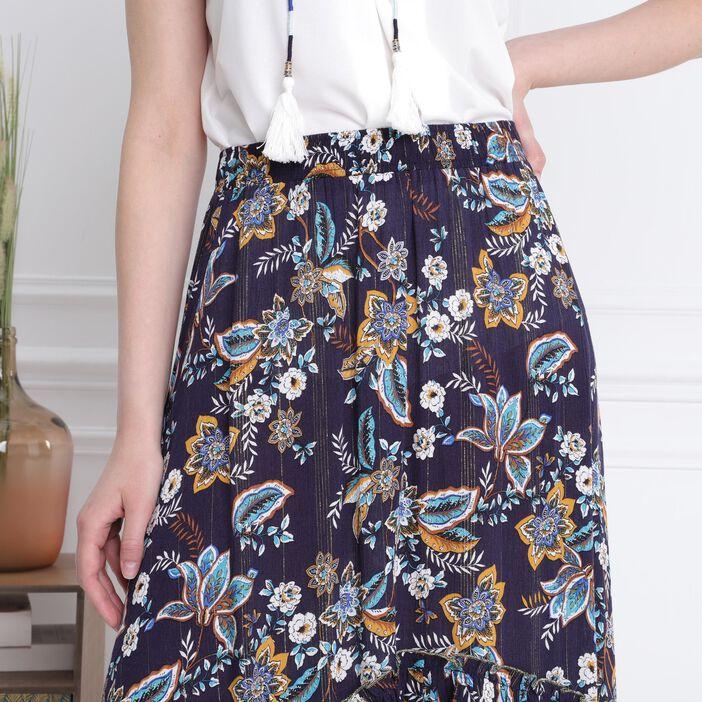 jupe imprimé bleu marine femme