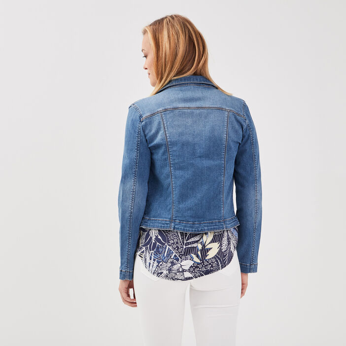 Veste droite en jean denim double stone femme