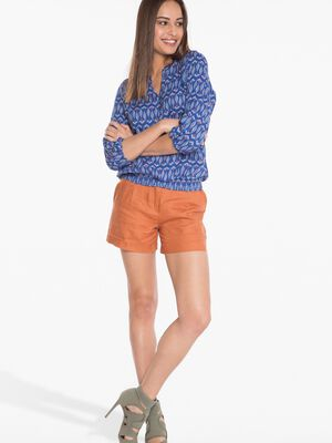Short paperbag coloris uni orange fonce femme