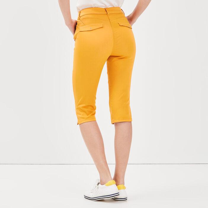Pantacourt ajusté taille haute jaune or femme