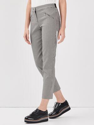 Pantalon droit taille basculee noir femme