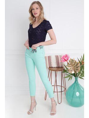 Pantalon ajuste taille haute vert menthe femme