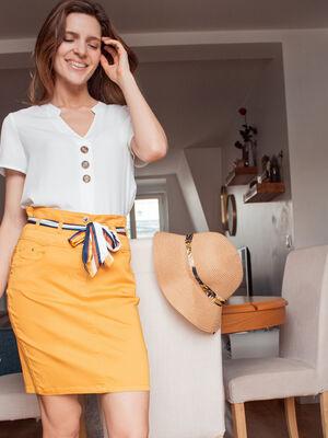 Jupe ajustee ceinture foulard jaune or femme