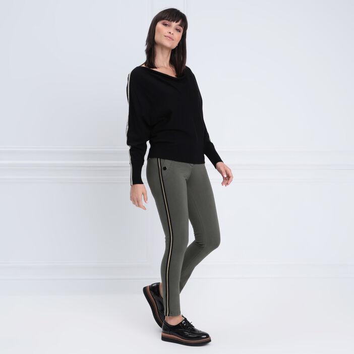Pantalon ajusté effet pont vert kaki femme