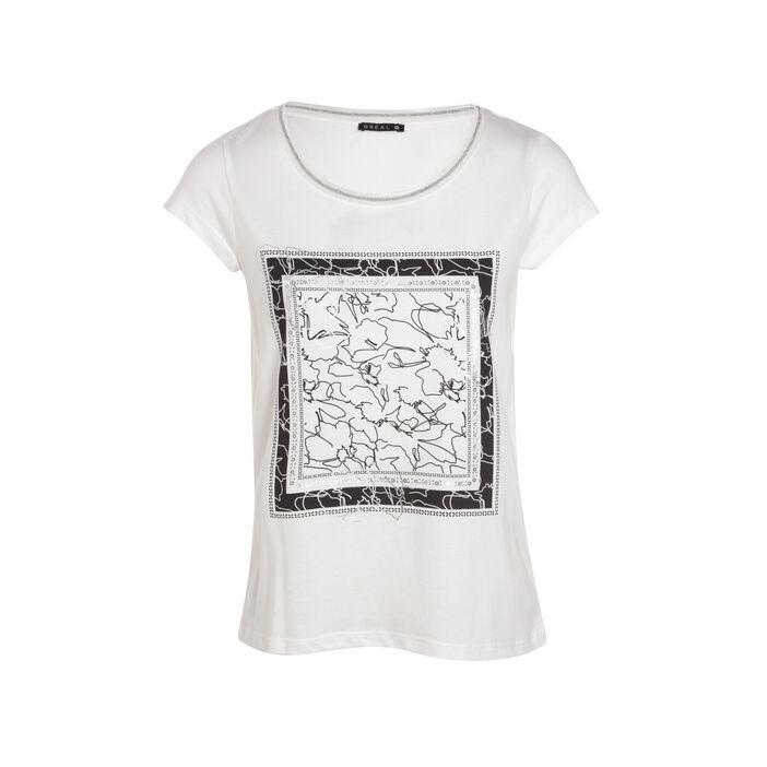 T-shirt manches courtes à motif ecru femme