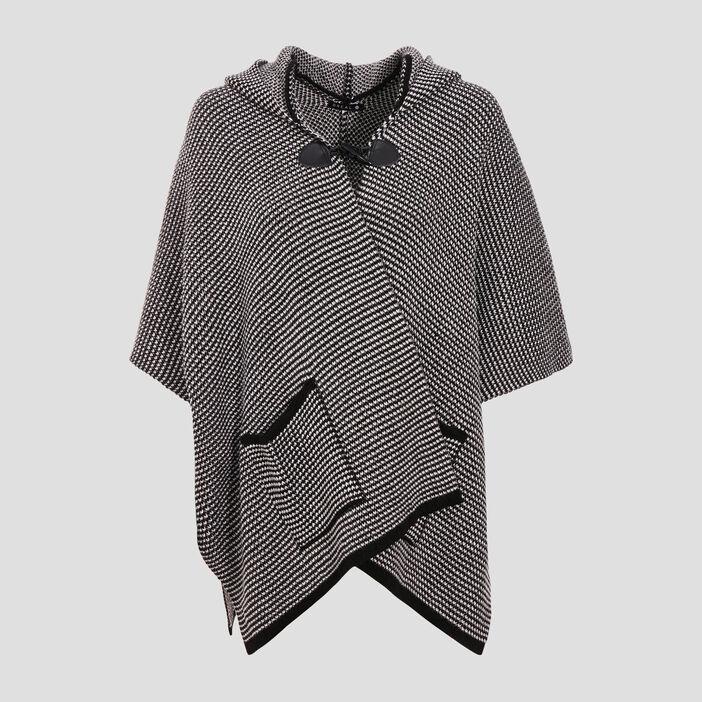 Cape ample à capuche noir femme