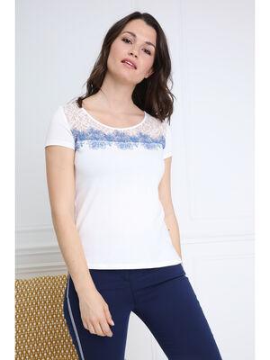T shirt manches courtes lacet ecru femme