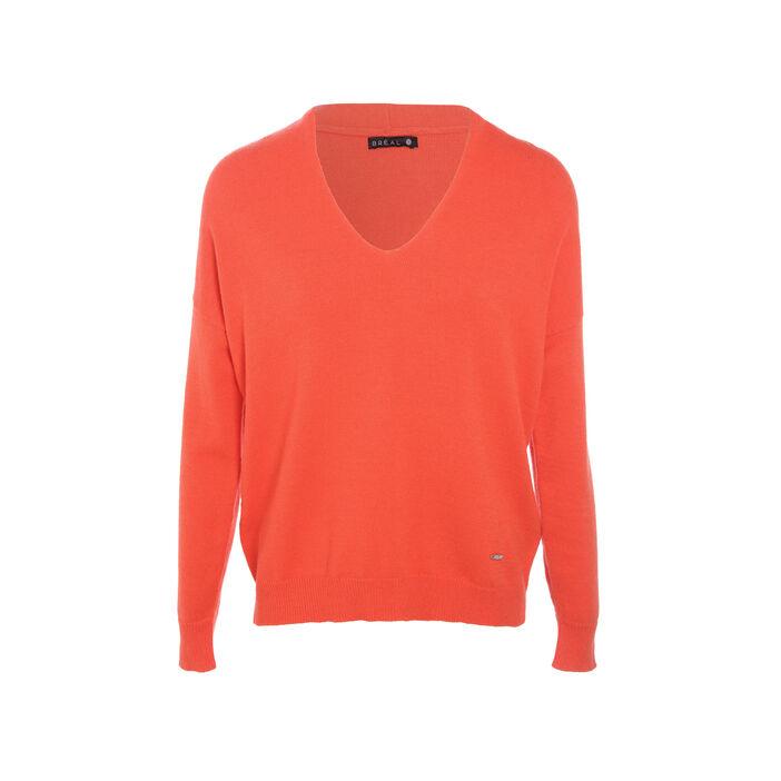 Pull manches longues orange corail femme