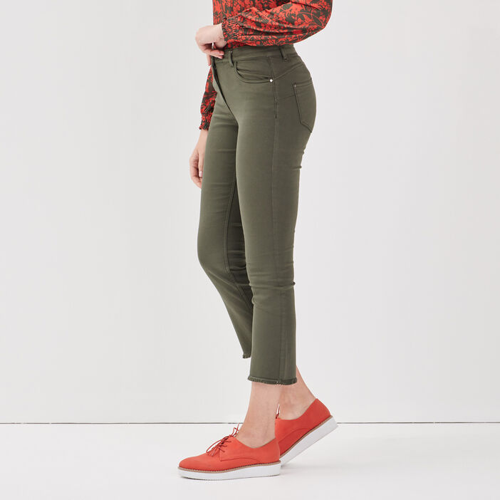Pantalon évasé taille basculée vert kaki femme