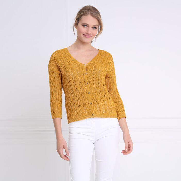 Pull-gilet ajouré uni jaune or femme