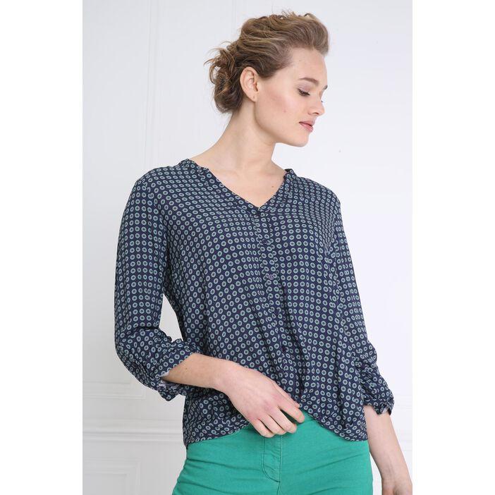 Chemise col V avec motifs bleu marine femme