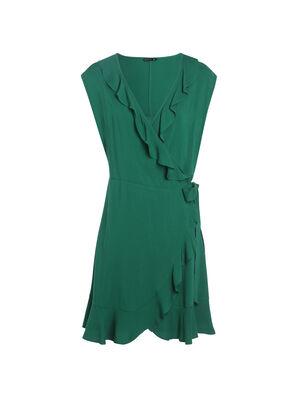 Robe portefeuille unie vert femme