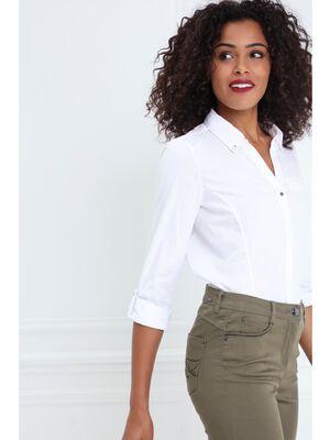 Chemise unie manches adaptables blanc femme