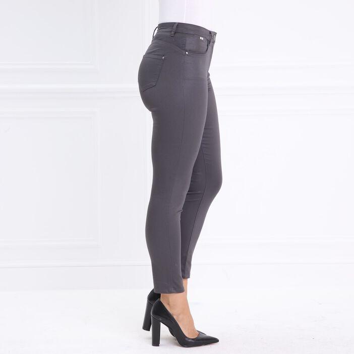 Pantalon taille standard ajusté enduit gris foncé femme
