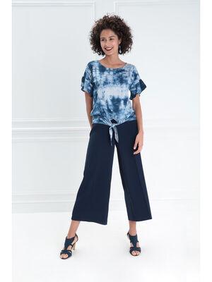 Pantalon a pont taille haute bleu fonce femme