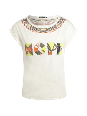 T shirt ethnique Hope ecru femme