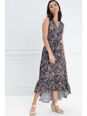 Robe longue portefeuille bleu marine femme