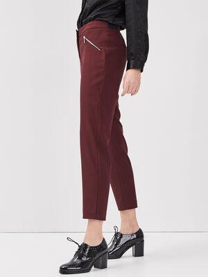 Pantalon droit taille basculee bordeaux femme