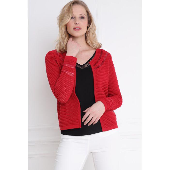 e3e85bde2 Gilet tricot uni maille fantaisie rouge femme | Bréal