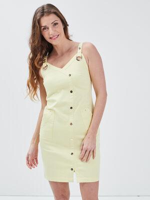 Robe ajustee a bretelles jaune fluo femme