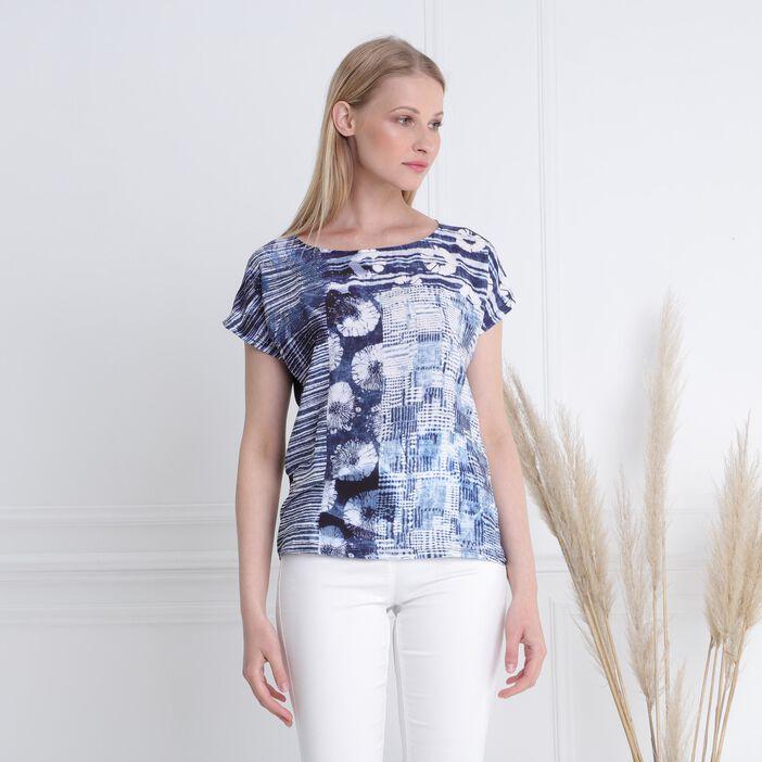 T-shirt manches courtes clous bleu marine femme