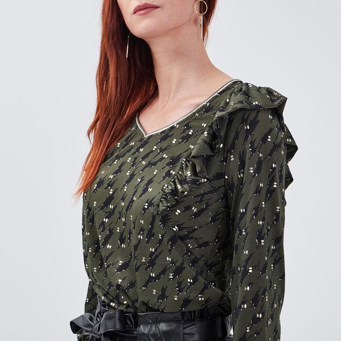 T-shirt manches longues vert kaki femme
