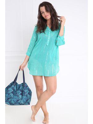 Tunique de plage manches 34 vert turquoise femme