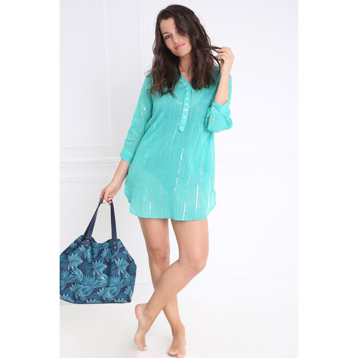 Tunique plage fluide vert turquoise femme